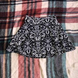 Black & White Floral Skater Skirt